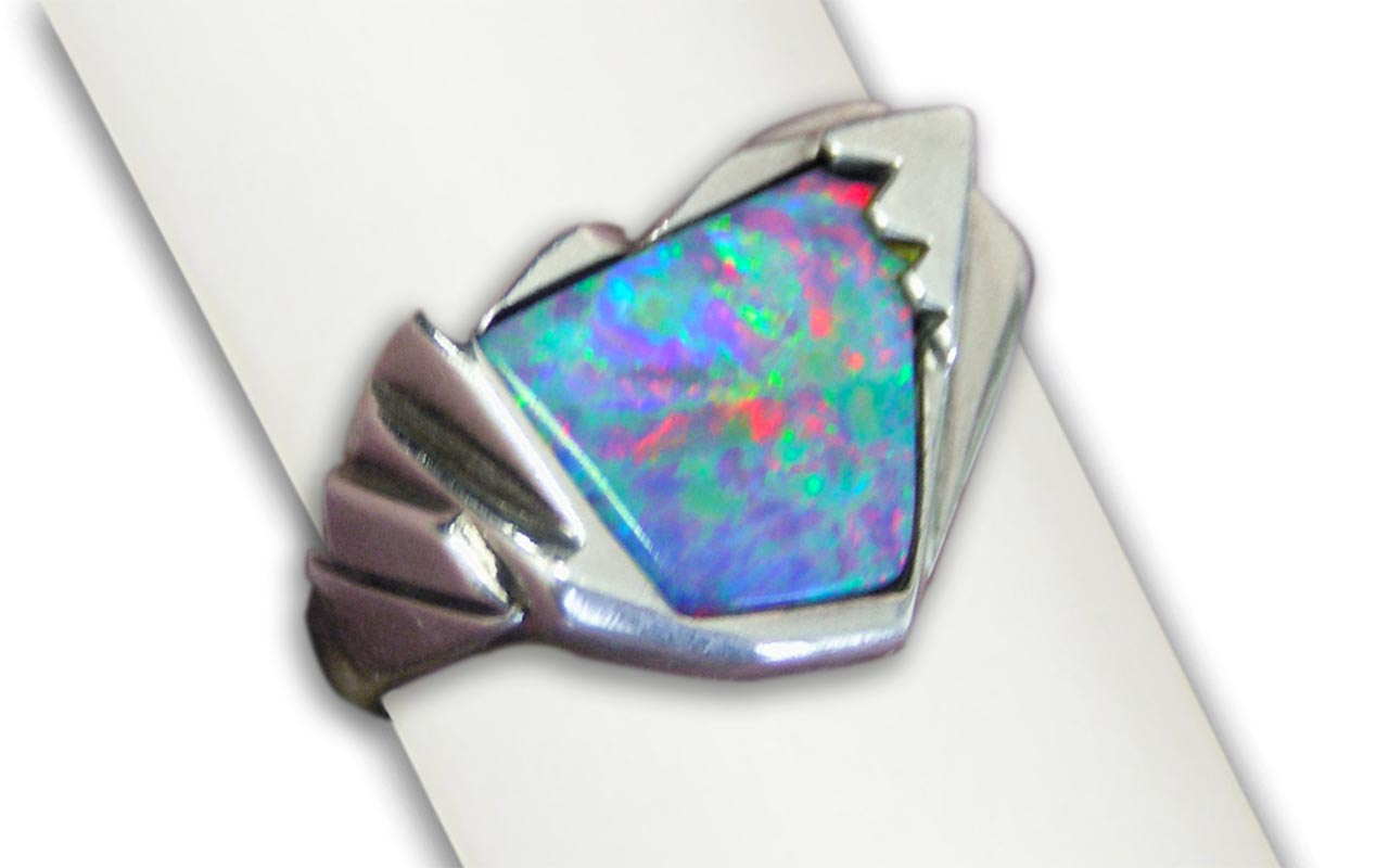 Vibrant Opal in Silver- Lost wax casting with opal inlay