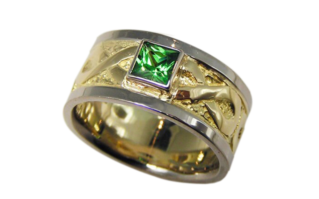Wedding Band with Tsavorite Gem
