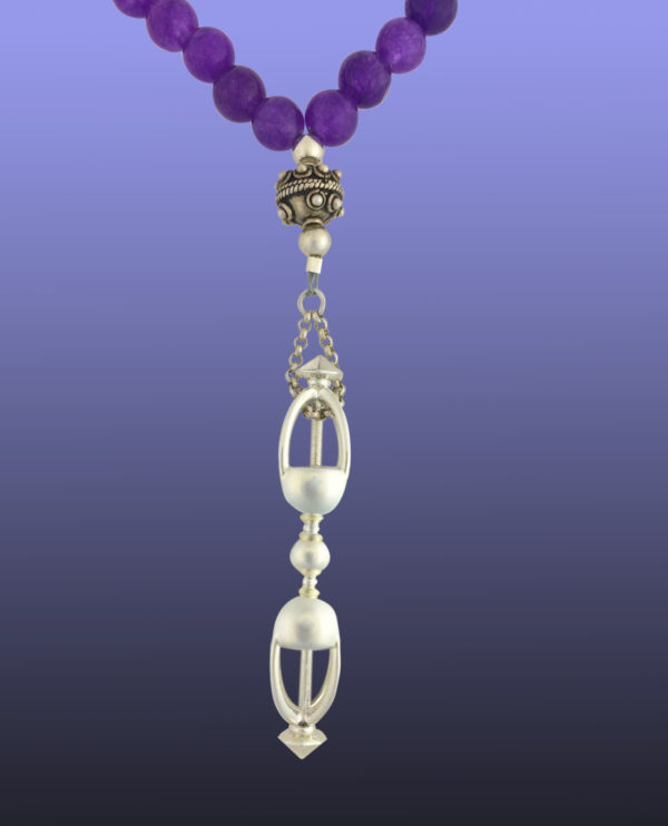 uru Rinpoche's Vajra in Sterling Silver with 108 Beads 8mm Amethyst with 3 @ 8mm vintage sterling silver spacers at 27 bead intervals.